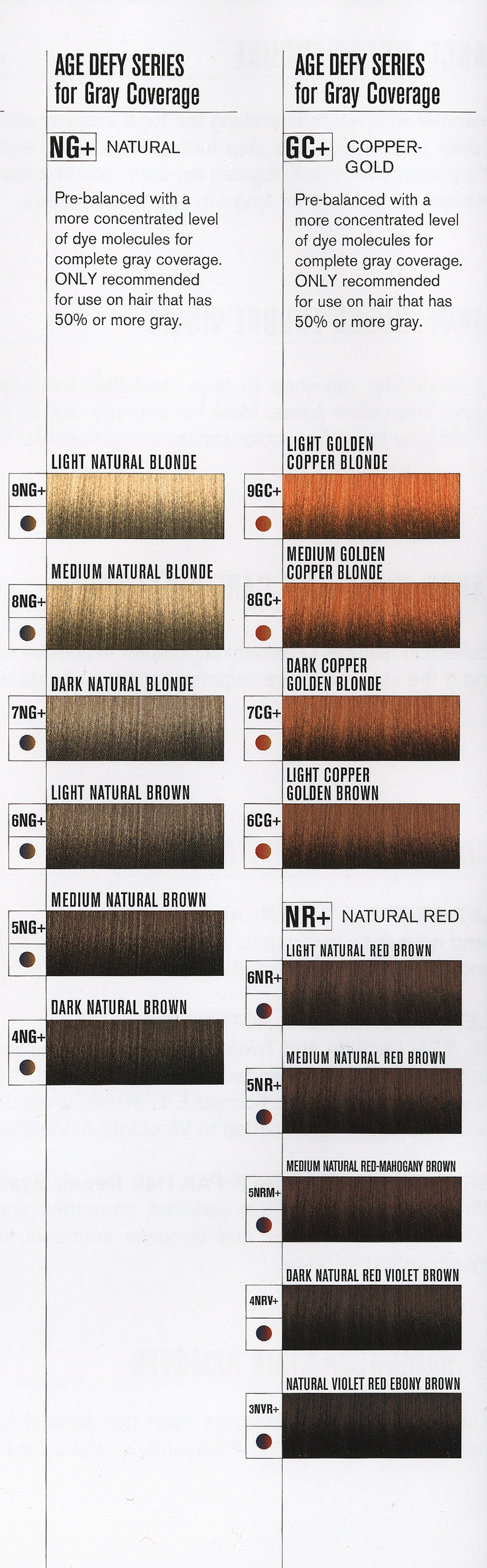 Sallys Hair Color Hair Color Chart Age Defy